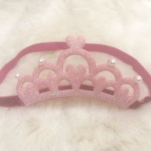 Pink Crown Headband Bow For Babies (new)